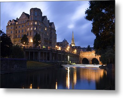 Bath City Spa Viewed Over The River Avon At Night Metal Print by Mal Bray