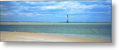 Beach With Lighthouse Metal Print by Panoramic Images