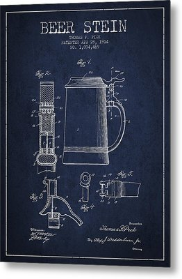 Beer Stein Patent From 1914 - Navy Blue Metal Print by Aged Pixel
