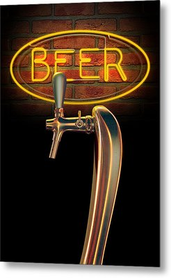 Beer Tap Single With Neon Sign Metal Print by Allan Swart