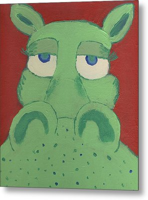 Metal Print featuring the painting Big Green Potamus by Yshua The Painter