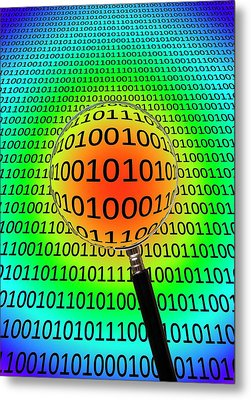 Binary Code And Magnifying Glass Metal Print by Victor De Schwanberg