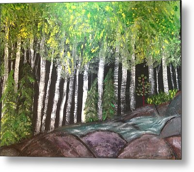Metal Print featuring the painting Birches By Falls by Paula Brown