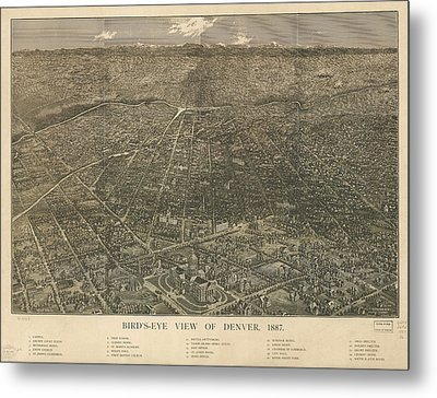 Birdseye Map Of Denver Colorado - 1887 Metal Print