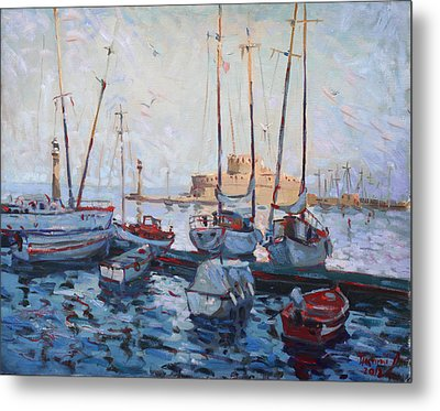 Boats In Rhodes Greece  Metal Print by Ylli Haruni