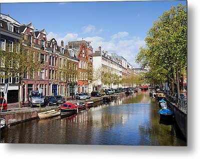 Boats On Amsterdam Canal Metal Print by Artur Bogacki