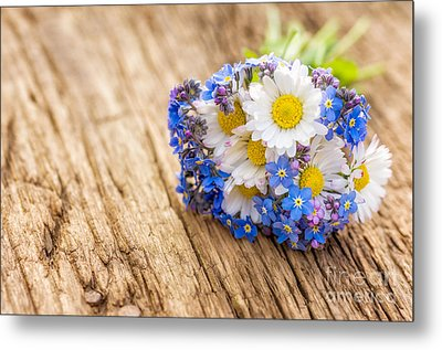 Bouquet With Daisies And Forget-me-not Metal Print by Palatia Photo