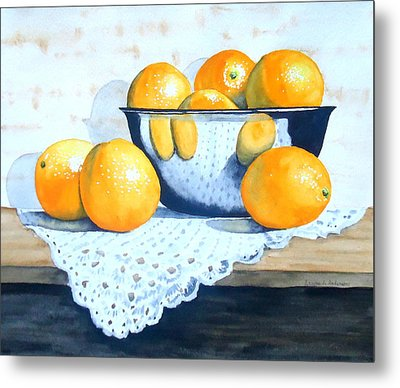 Bowl Of Oranges Metal Print