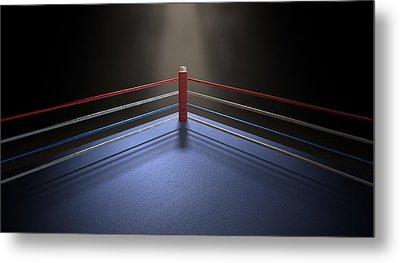 Boxing Corner Spotlit Dark Metal Print