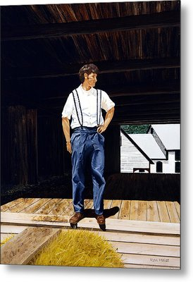 Metal Print featuring the painting Boy In The Barn by Ron Haist