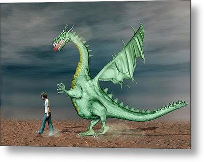 Boy With Pet Dragon Metal Print