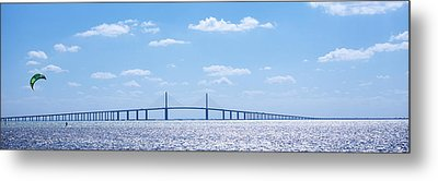 Bridge Across A Bay, Sunshine Skyway Metal Print by Panoramic Images