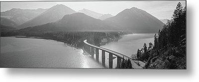 Bridge Over Sylvenstein Lake, Bavaria Metal Print by Panoramic Images