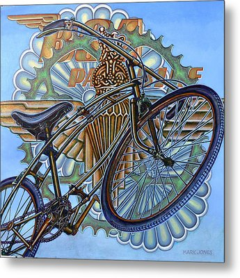 Metal Print featuring the painting Bsa Parabike by Mark Howard Jones