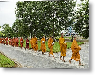 Buddhist Monks In Battambang Cambodia Metal Print