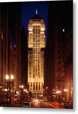 Buildings Lit Up At Night, Chicago Metal Print