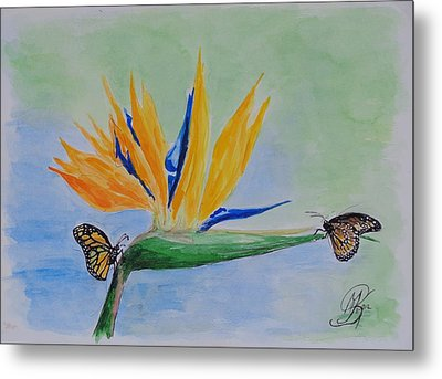 2 Butterflies On A Bird Of Paradise Metal Print by Kerstin Berthold