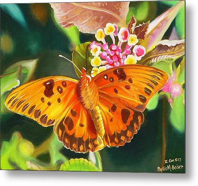 Butterfly And Lantana Metal Print by Phyllis Beiser