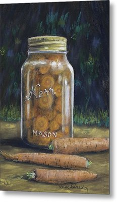 Metal Print featuring the painting Canned Carrots by Claude Schneider