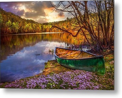 Canoe At The Lake Metal Print by Debra and Dave Vanderlaan