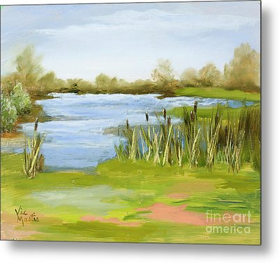 Metal Print featuring the painting Cattails At Forest Park by Vic  Mastis