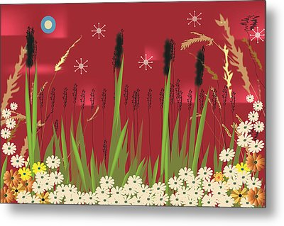 Metal Print featuring the digital art Cattails by Kim Prowse