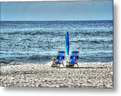 Metal Print featuring the digital art 2 Chairs And Umbrella by Michael Thomas