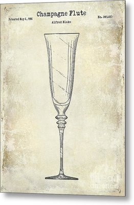 Champagne Flute Patent Drawing  Metal Print