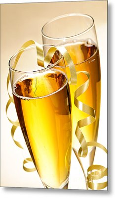 Champagne Glasses Metal Print