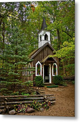 Chapel In The Woods Metal Print by Judy  Johnson