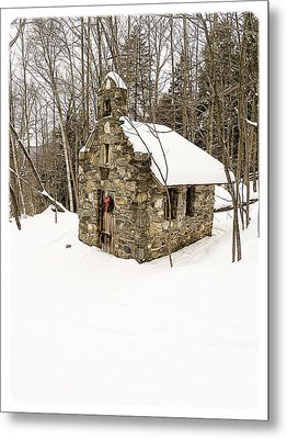 Chapel In The Woods Stowe Vermont Metal Print by Edward Fielding