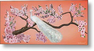 Cherry Blossom Peacock Metal Print by Glenn Holbrook