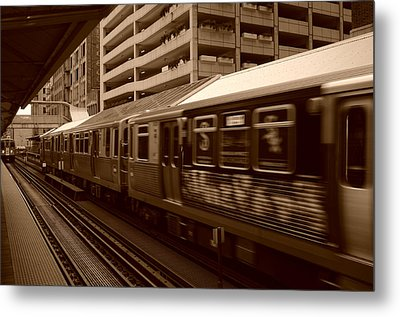 Chicago Cta Metal Print by Miguel Winterpacht