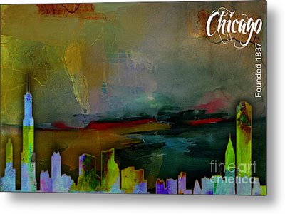 Chicago Skyline Watercolor Metal Print by Marvin Blaine