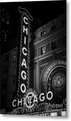 Chicago Theatre Sign In Black And White Metal Print
