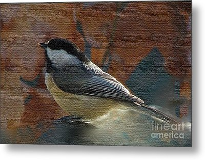 Metal Print featuring the photograph Chickadee In Autumn by Janette Boyd