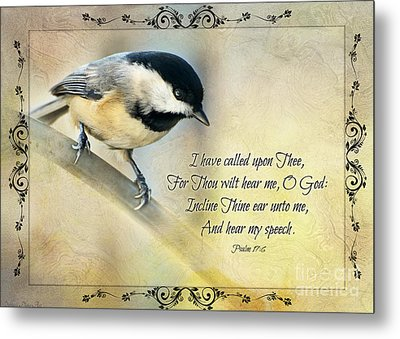 Chickadee With Verse Metal Print by Debbie Portwood