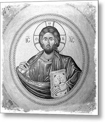 Christ Pantocrator In Black And White -- Church Of The Holy Sepulchre Metal Print by Stephen Stookey