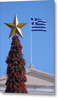 Christmas Tree And Greek Flag Metal Print by George Atsametakis