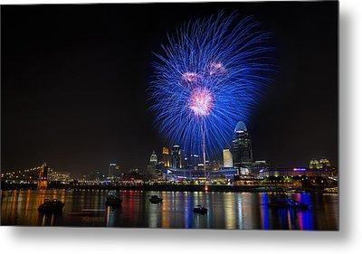 Cincinnati Reds Fireworks  Metal Print