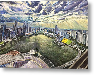City Around The River Metal Print by Belinda Low