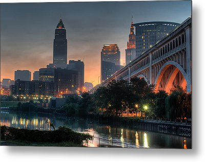Cleveland Skyline At Dawn Metal Print by At Lands End Photography