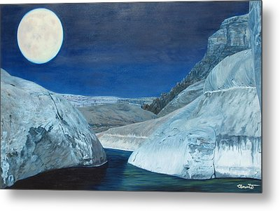 Cold Water Passage Beneath Full Moon Metal Print