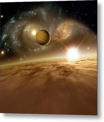 Colliding Galaxies Metal Print