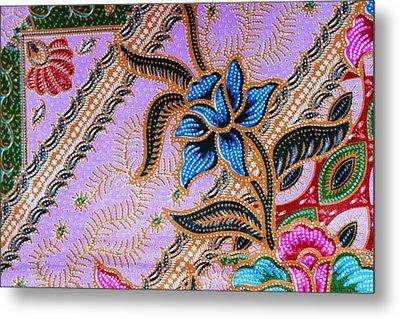 Colorful Batik Cloth Fabric Background  Metal Print by Prakasit Khuansuwan
