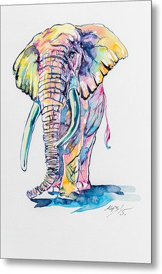 Colorful Elephant Metal Print by Kovacs Anna Brigitta