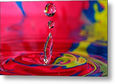 Colorful Water Drop Metal Print by Peter Lakomy