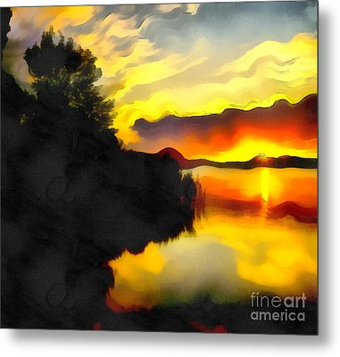 Colors At The Lake Metal Print by Odon Czintos