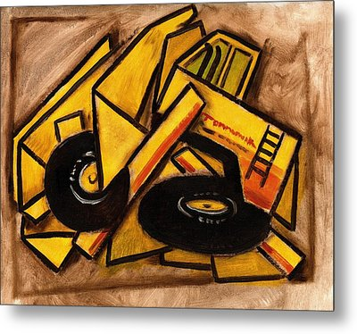 Synthetic Cubism Construction Truck Art Print Metal Print