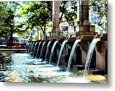 Metal Print featuring the photograph Copley Square Fountain In Boston by Boris Mordukhayev